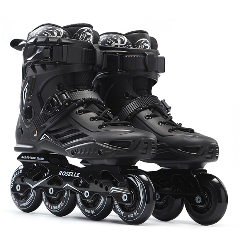 Inline Professional Adult Women Men Slalom PP Ice Skating Skate Shoes SolidFrame Adjustable Washable PU Wheels