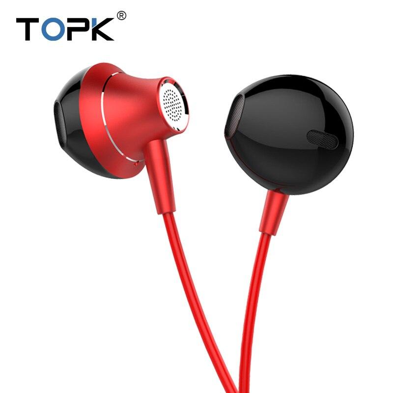 TOPK 3,5mm en la oreja los auriculares con micrófono Anti-de consuelo Heavy Bass auricular con cable auricular Control de volumen estéreo deporte auriculares
