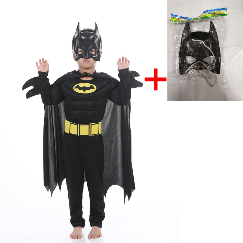 Kids Boys Muscle Batman Costumes & Masks Cloak Movie Character Superhero Cosplay Halloween Masquerade Party Superman Role Play image