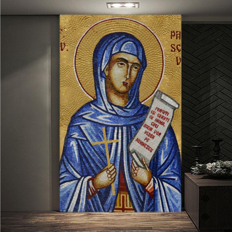 Personnalisé or miroir verre mosaïque tuile église matériau de construction image sainte histoire biblique figure religieuse portrait rétro peinture