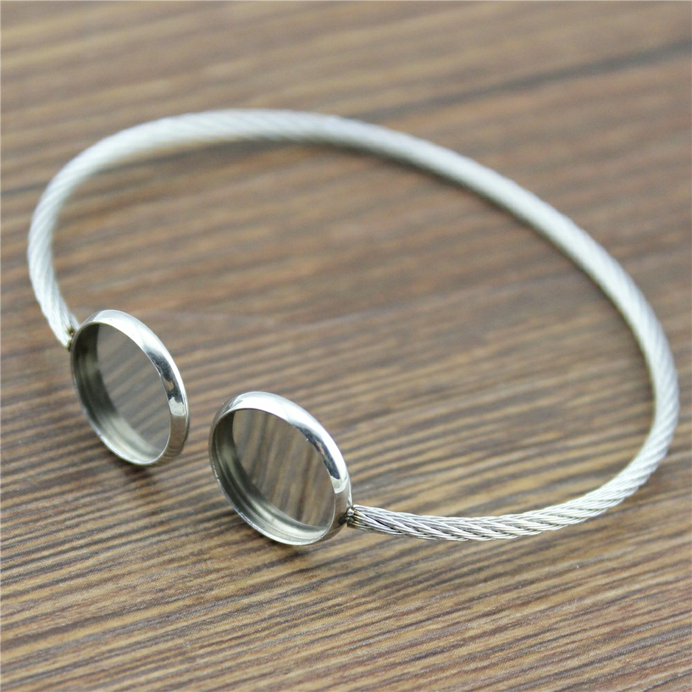 2pcs Fit 12mm Round Glass Cabochon Stainless Steel Super Flexible Bangle Base Bracelet Blank Findings Tray Bezel Setting mibrow 10pcs lot stainless steel 8 10 12 14 16 18 20mm blank french lever earring tray cabochon setting cameo base jewelry