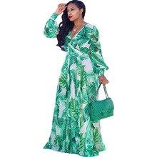 Beach Chiffon Maxi Dress 2019 Summer New Women's Casual Loose Print Dress Long Sleeve V-neck Belt Large Size Dress S-XXL-5XL цена