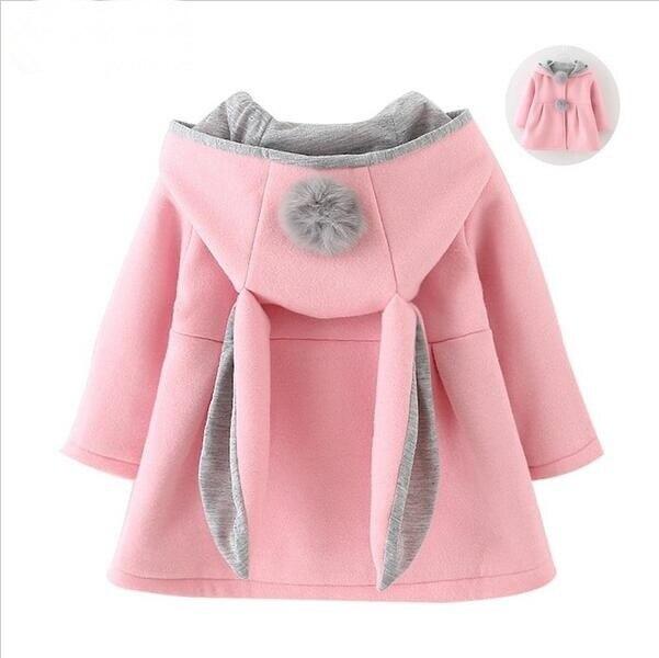 deb25a2ebf2 Bonito Da Orelha de Coelho Com Capuz Casaco Meninas Outono Inverno Crianças  Quentes jaqueta Crianças Outerwear