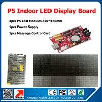 3 шт. P5 светодиодные панели Крытый полноцветный светодиодный экран + 1 прокрутка сообщения control карты + 1 шт. LED источника питания DIY комплекты