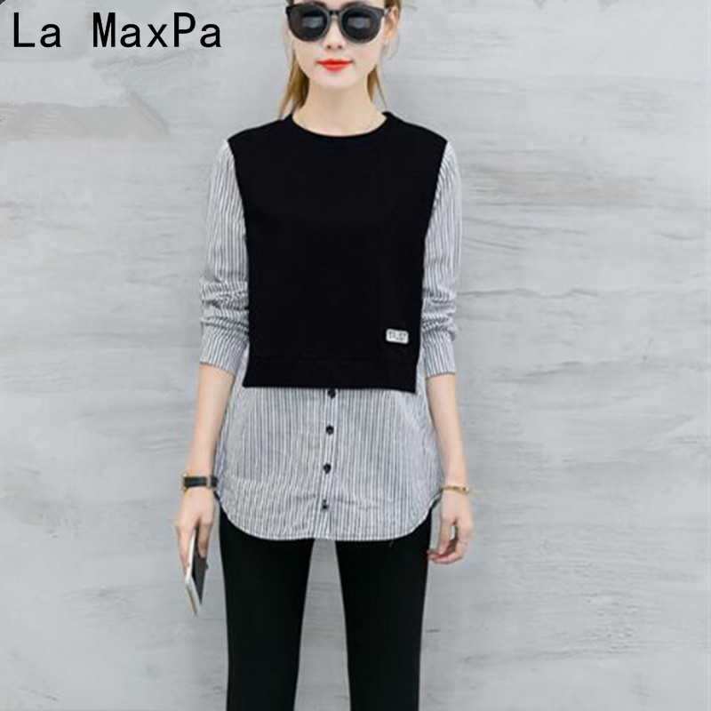 LA MAXPA Blusas Spring   Blouses     Shirt   Female Long Sleeve Casual Striped Patchwork Fake Two Pieces Women   Blouses   Loose Tops Blusas