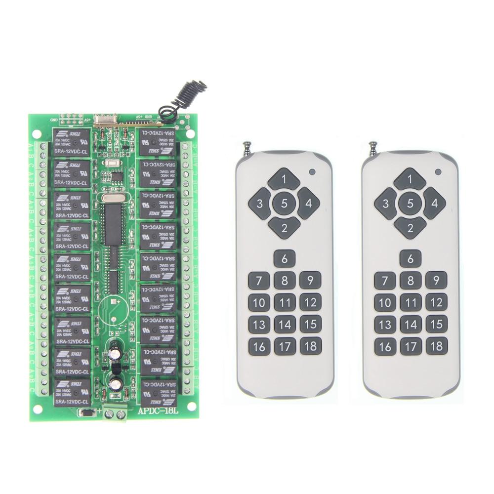 DC 12V 24V 18 CH 18CH RF Wireless Remote Control Switch System,2X Transmitter + Receiver,315/433.92 MHZ,Jog Self-lock Inter-lock dc 12v 24v 10a 8 ch 8ch radio controller rf wireless remote control switch system 315 433 92 mhz 3 x transmitter receiver