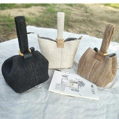 Brand Straw Bags for Women Beach Bag Personality Crossbody Lock Handbag Lady Vintage Handmade Knit Fashion Shoulder Bag