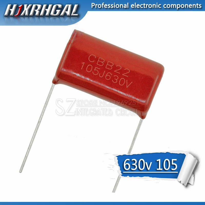 1PCS 630V105J 630V 1UF Pitch 20mm 105 1000NF CBB Polypropylene Film Capacitor Hjxrhgal