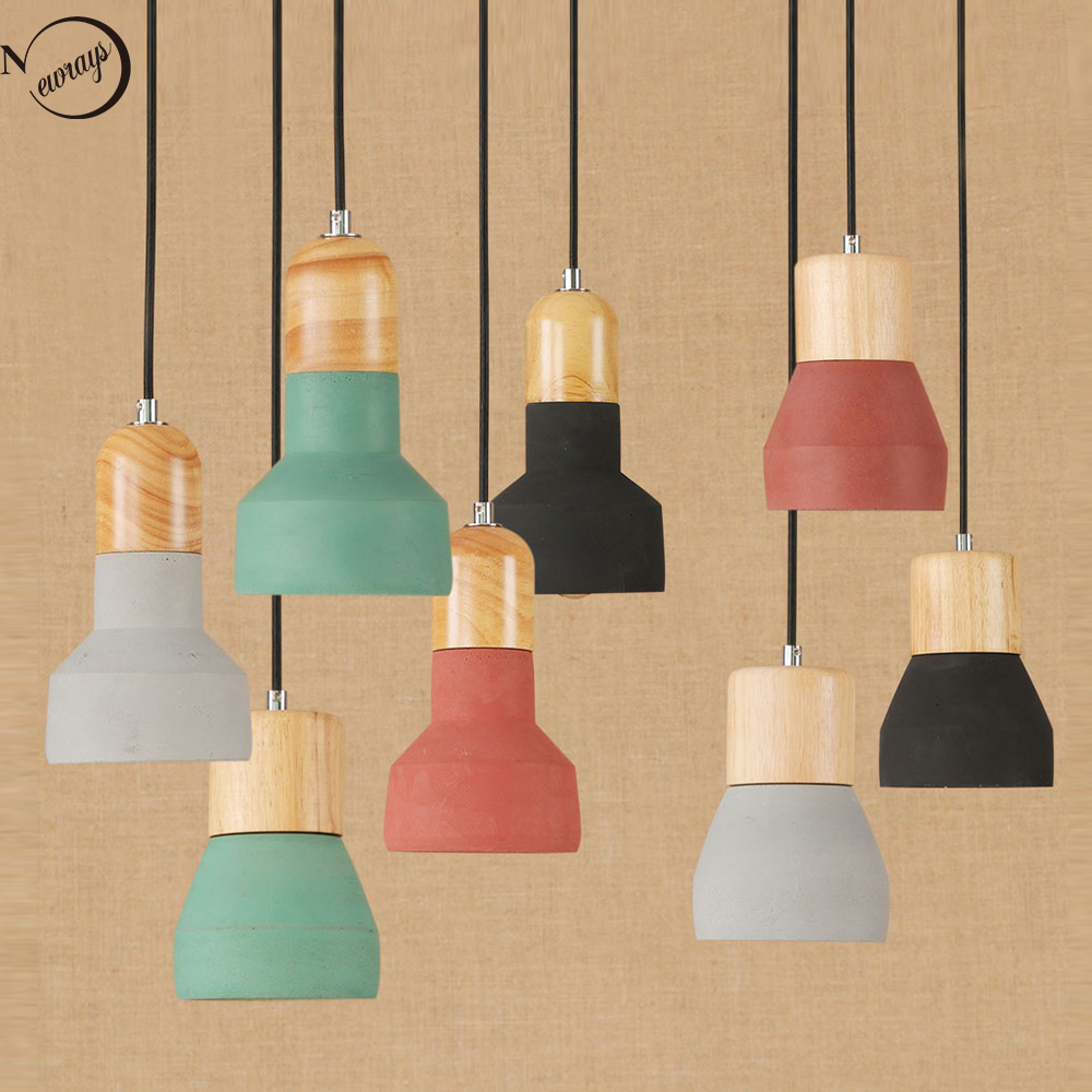 Vintage colorful cement hanging pendant lamp 220v E27 LED light with switch lighting fixture for restaurant palor bedroom office title=