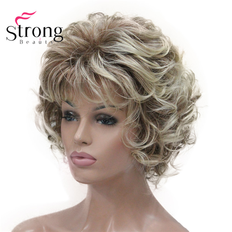 StrongBeauty Short Wig Soft Tousled Curls Blonde Highlights Full Synthetic Wigs COLOUR CHOICES