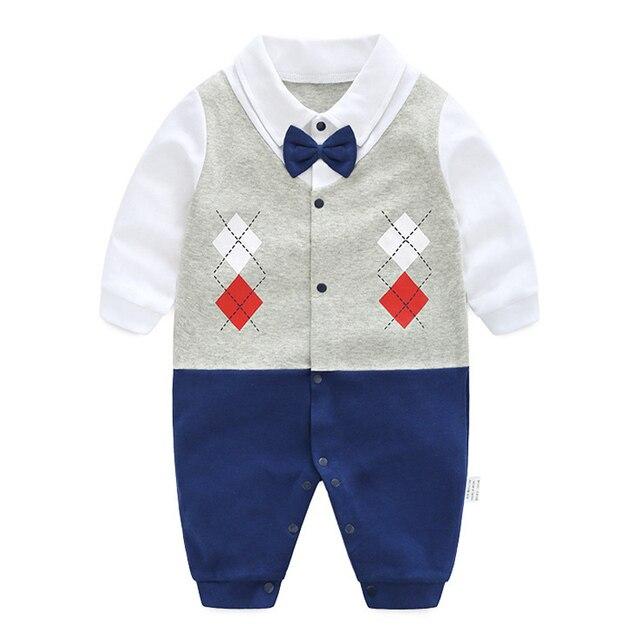 9368af542 Handsome Baby Rompers 2018 Newborn 0 18M Gentleman Clothing Set ...