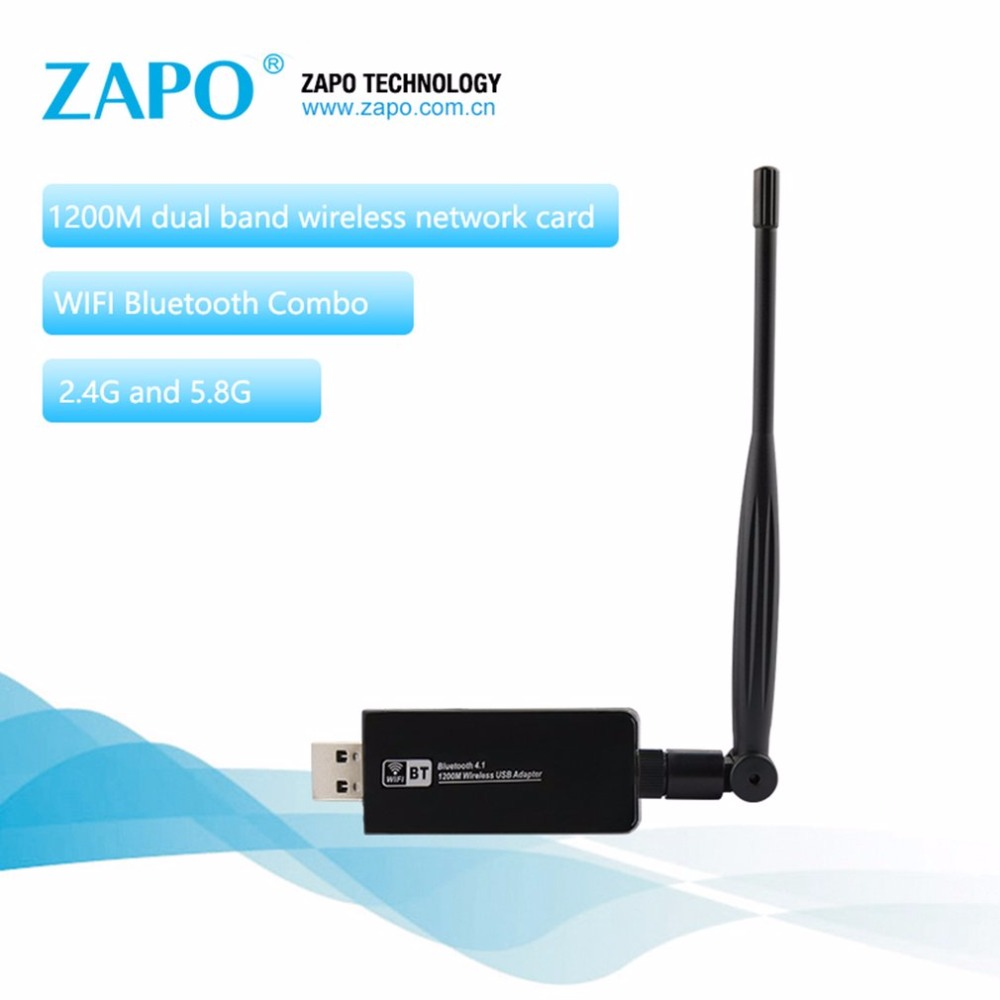 ZAPO W97L-5DB 1200Mbps Dual Bands Wireless Network Card AC USB 3.0 Bluetooth 4.1 Adapter 5dbi Aerial Network Card