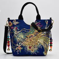 2018 Ethnic Sequins Phoenix Embroidery Bags Fashion Chinese National Style Tassel Beads Shoulder Bag Large Women Messenger Bag
