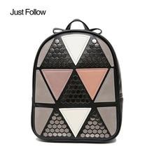 Folgen Sie einfach 2017 neue frauen niet geometrische patchwork rucksack schüler schule rucksäcke adrette damen reisetasche