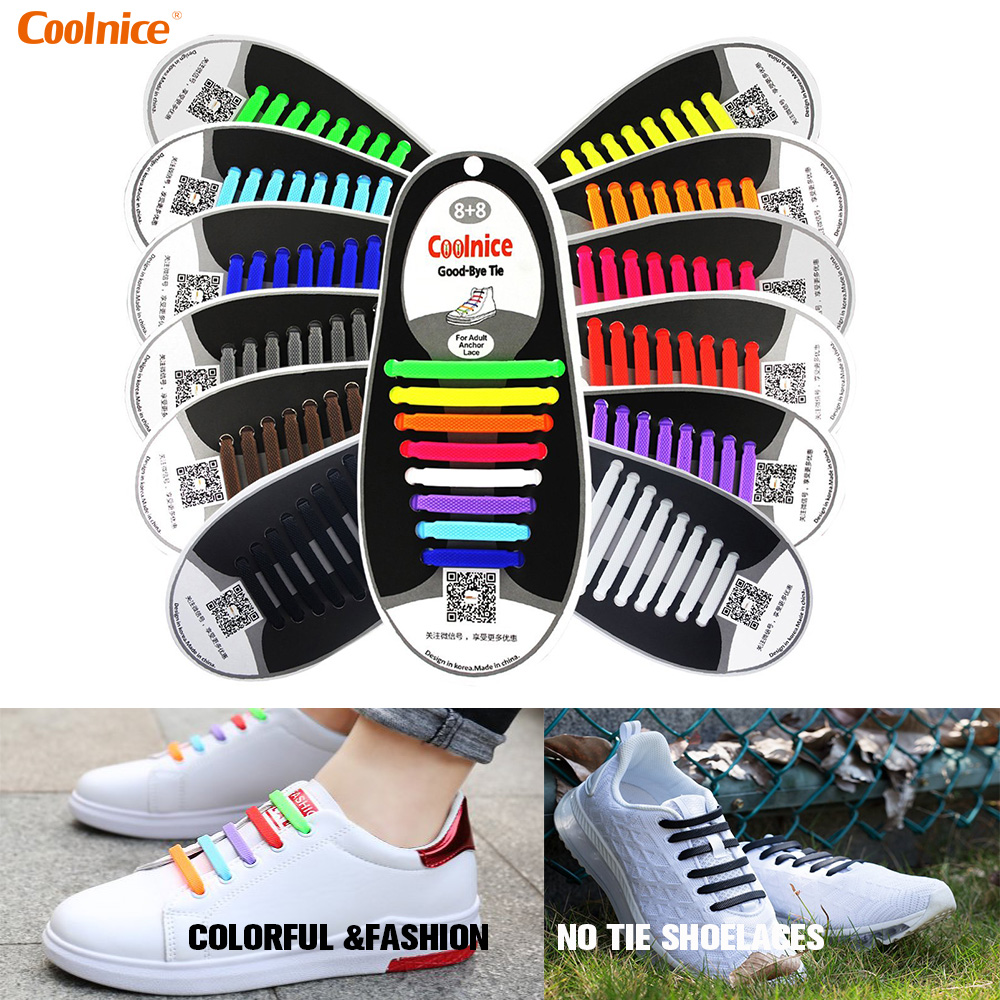 Elastic Shoe laces Silicone No tie Shoelaces Fashion Athletic Running Shoe lace for Women Men Unisex Sneakers 16pcs/lot Coolnice