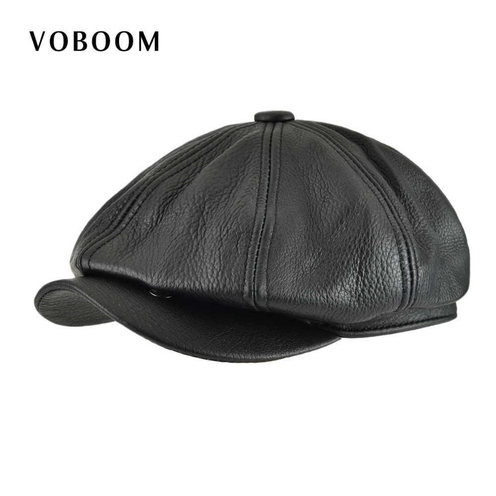 d6fc39084dc VOBOOM Genuine Leather Newsboy Cap Men Women Flat Cap Black 8 Panel Design  Gatsby Hat Classic