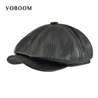 VOBOOM Genuine Leather Men Women Solid Black 8 Panel Design Gatsby Flat Cap Classic Newsboy Style Beret Hat 115