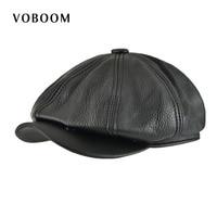 VOBOOM Genuine Leather Men Women Casual Solid Color 8 Panel Design Gatsby Flat Cap Classic Newsboy
