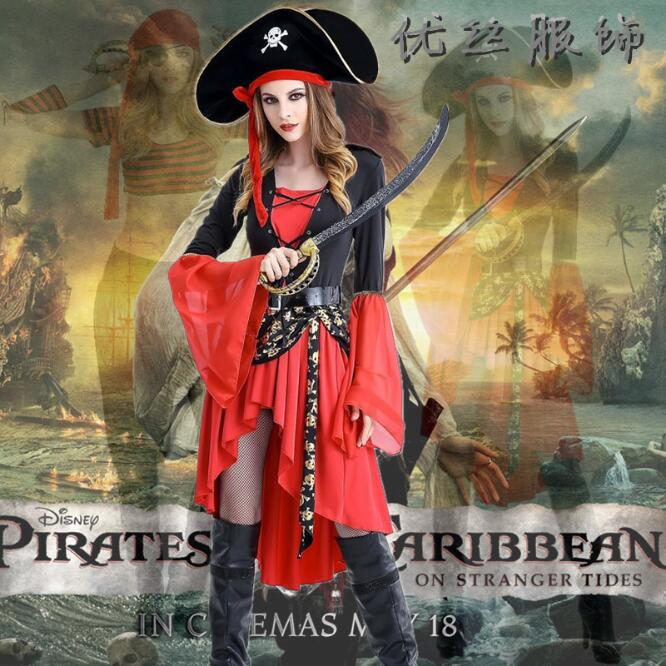 Cosplay evening Pirates of the Caribbean clothing red women's piquant shape for adults Carnival costume for a halloween dress an