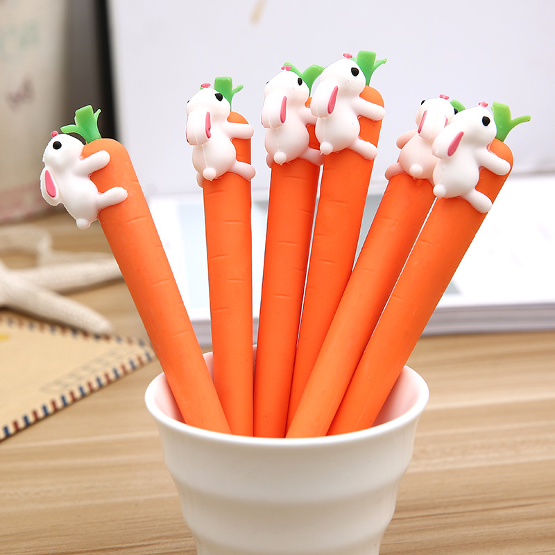 Korean New Cute Cartoon Creative White Rabbit Love Carrot Students Black Neutral Pen Office Signature Pen Stationery For Office