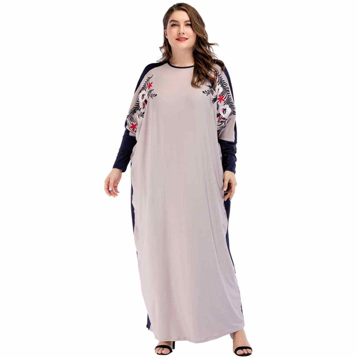fc4fdee022 2019 Spring Autumn Muslim dress for women Plus Size Vestidos Bat sleeve  embroidery long dress female