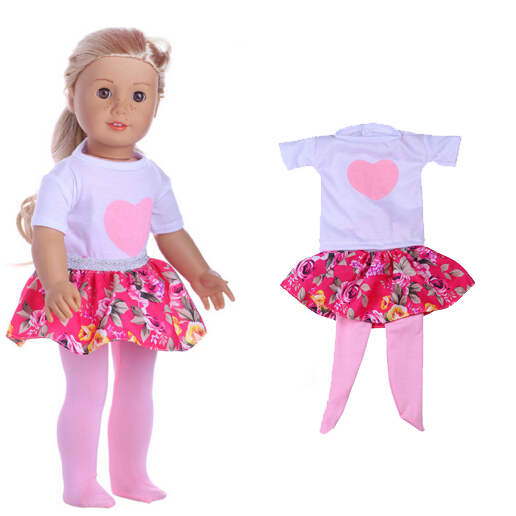 18 inch Doll Clothes for 18 inch American Girl one pieces dress +legging for 45 CM reborn baby dol 9 colors american girl doll dress 18 inch doll clothes and accessories dresses