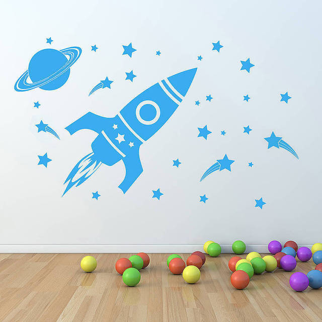 Rocket Ship Astronaut Creative Vinyl Wall Sticker For Boy Room Decoration Outer Space Wall Decal Nursery Kids Bedroom Decor ER46