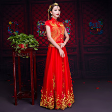 Red summer clothes embroidery flower toast clothing the bride cheongsam wedding dress For Overseas Chinese short sleeved gown