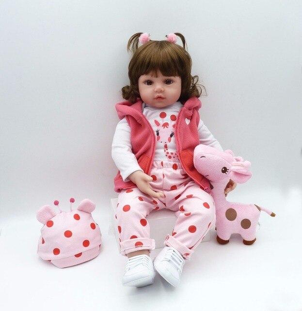 61cm hot-selling silicone dolls baby doll gift toy soft vinyl silicone reborn babies girls giraffe npk bebe Xmas best cheap gift