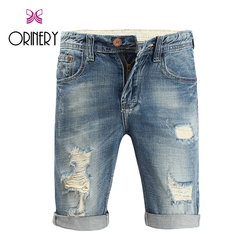 ORINERY Size 28-42 2018 New Designer Short Jeans Men High Quality Ripped Jeans Fashion Brand Elastic Knee Length Trousers