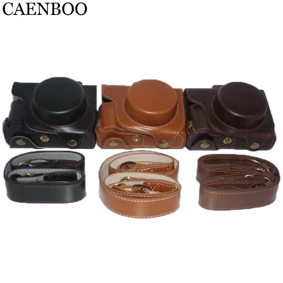 CAENBOO Luxury Camera Leather <font><b>Case</b></font> For <font><b>Canon</b></font> PowerShot G1XIII Mark III <font><b>G1X</b></font> III <font><b>G1X</b></font> Mark3 Storage Bag Strap Bottom Opening Cover image