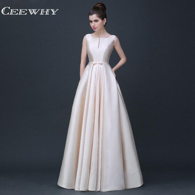 CEEWHY Satin Kleid Elegante Abendkleider Lange A-linie Abschlussball ...