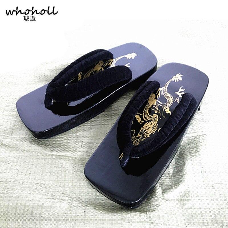 27b2c09489b6 WHOHOLL Geta 2019 Summer Sandals Men Japanese Geta Flip-flops for Man Cos  Black Bottom Dragon Printing Wooden Clogs Slippers