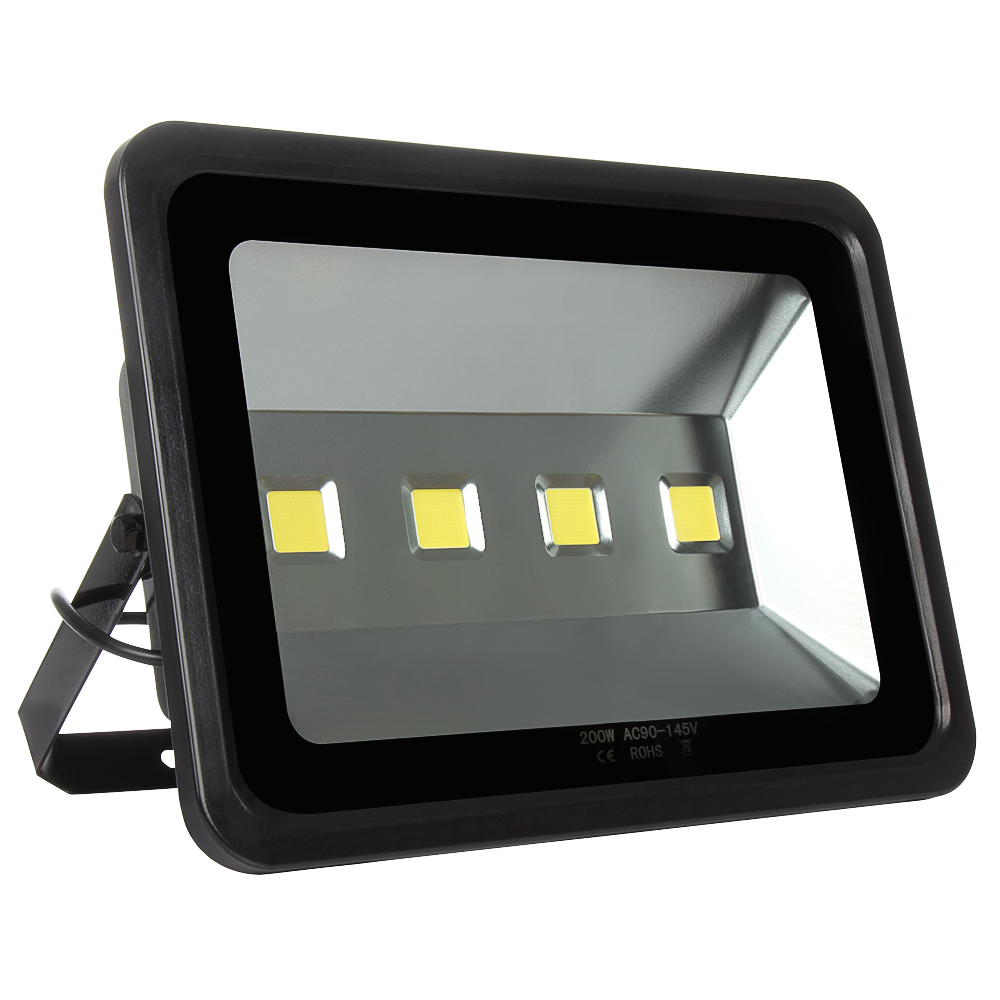 Replace Garage Lights With Led: 1pcs Black Shell Led Spotlight 200W Outdoor Lighting