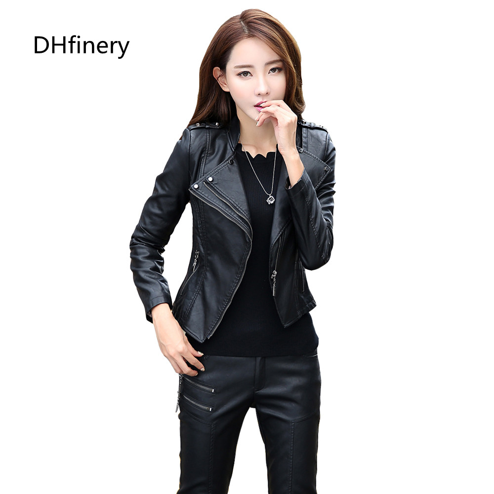 leather   jacket women spring and autumn short design Motorcycle coats ladies black blue red   leather   coat plus size M-5xl 6926
