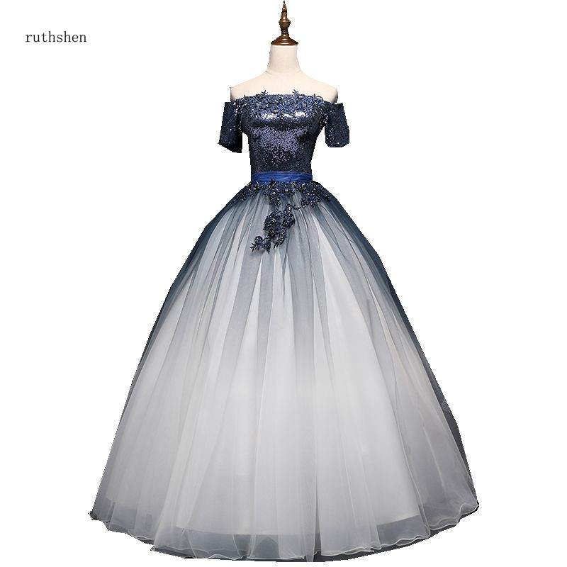 ruthshen 2018 New Quinceanera Dresses Off The Shoulder Short Sleeves Puffy Prom Ball Gown Gradient Ramp Vestido Debutante Dress