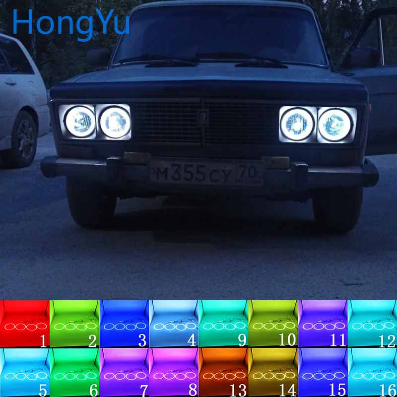 Latest Headlight Multi-color RGB LED Angel Eyes Halo Ring Eye DRL RF Remote Control for Lada Vaz <font><b>2106</b></font> 1976 - 2001 Accessories image