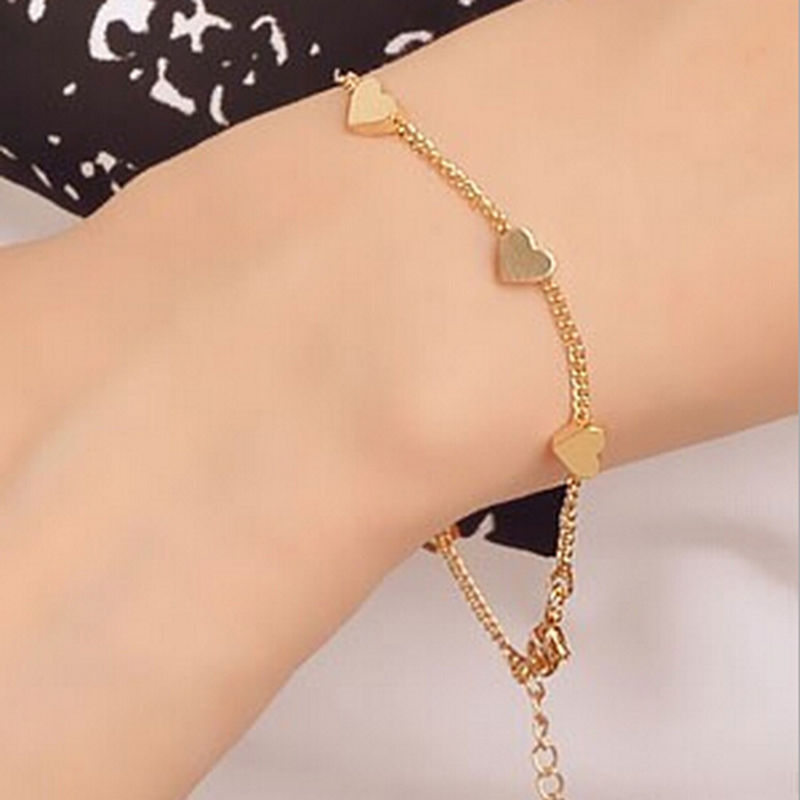 c694696b3fea6 US $0.85 30% OFF|Women Gold Foot Jewelry Chain Anklet Summer Fashion Foot  Jewelry Heart Love Design Bracelet For Women Girls Feet Accessories-in ...