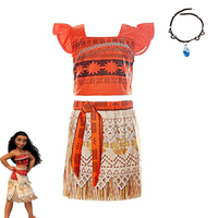 New Princess Moana Wedding Cosplay Costume Children Vaiana Adventure Dress With Necklace Costumes For Kids Girls