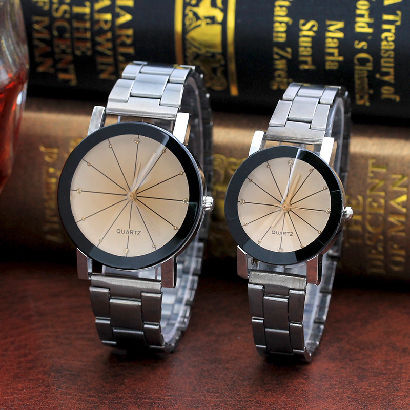 2pcs Lovers Watches For Men Women Quartz Watch Stainless Steel Couple Clock Bracelet Lover Wristwatches Women's Dress Gift