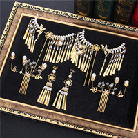 tassel headdress Chinese hair comb hairpins sets wedding costume gold step bride hair comb accessories