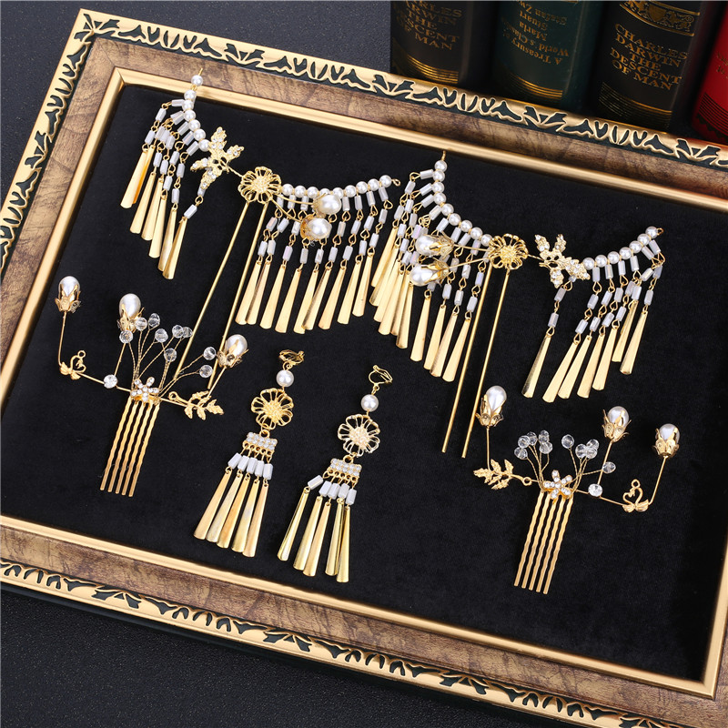 tassel headdress Chinese hair comb hairpins sets wedding costume gold step bride hair comb accessoriestassel headdress Chinese hair comb hairpins sets wedding costume gold step bride hair comb accessories