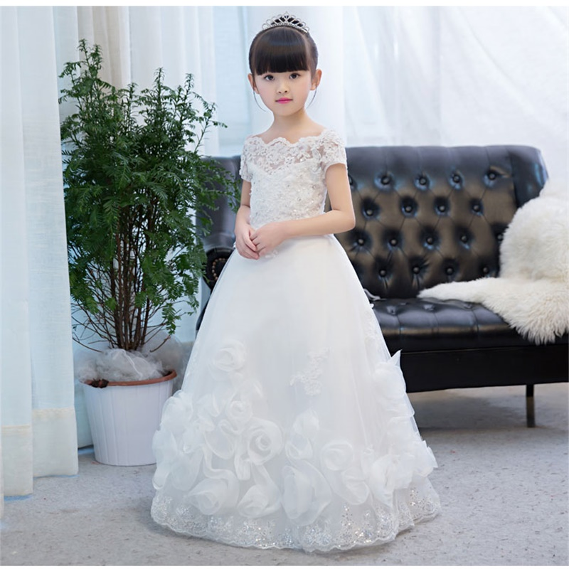 New Flower Girl Dresses for Wedding Princess Communion Party Pageant Dress with Appliques Little Girls Kids/Child Birthday Dress