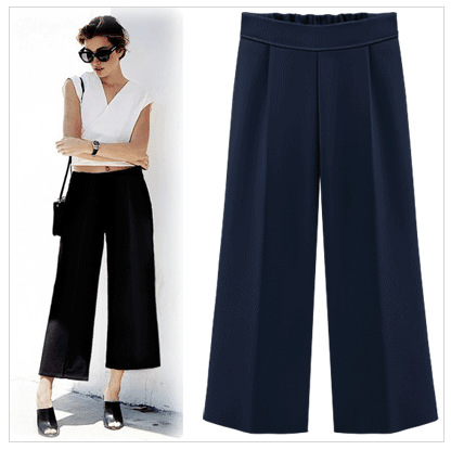 Woman Spring Autumn Plus Size High Elastic Waist Solid   Wide     Leg     Pants   Female Summer Oversized Straight Ankle-length Trousers