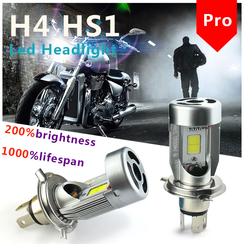 H4 HS1 P43T Motorcycle Led Headlight Bulbs High Low Hi Lo Dual Beam All In One Mini Small Play Plug to Replace Headlamp