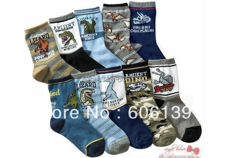 pure cotton children socks dinosaurs of the all-match cartoon socks temperament baby socks 10 pair/lot free shipping mix order