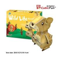 Cubicfun 3D Paper Puzzle Toy DIY Handmade Cardboard Model Wild Life Kangaroo Assembly 3D Puzzles Educational