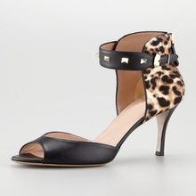 Sexy Cover Heels Leopard Women Sandals Thin High Heels Shallow Peep Toe Rivets Ankle Strap Brand Shoes Women Party