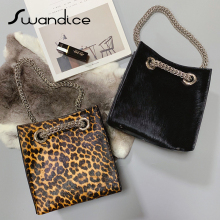 100 Real Cowhide Genuine Leather Horse Hair Fur Leopard Chain Handbags Crossbody Messenger Shoulder Tote