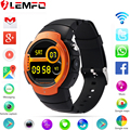 Lemfo lem3 3g wifi smart watch teléfono android 5.1 os mtk6580 quad core teléfono smartwatch apoyo google mapa del ritmo cardíaco monitoreo